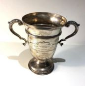 Large silver two handle trophy weight 450g measures approx height 21.5cm