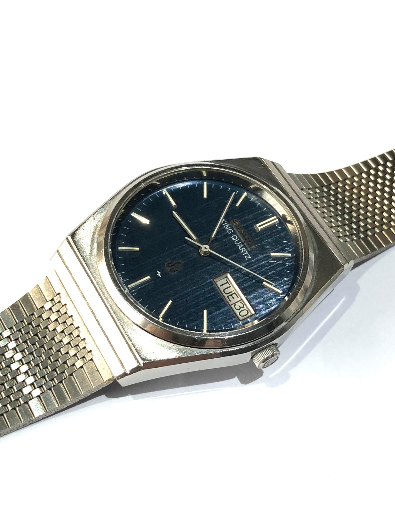 Vintage Seiko king quartz 5856-7040 watch is in working order but no warranty given - Image 2 of 5
