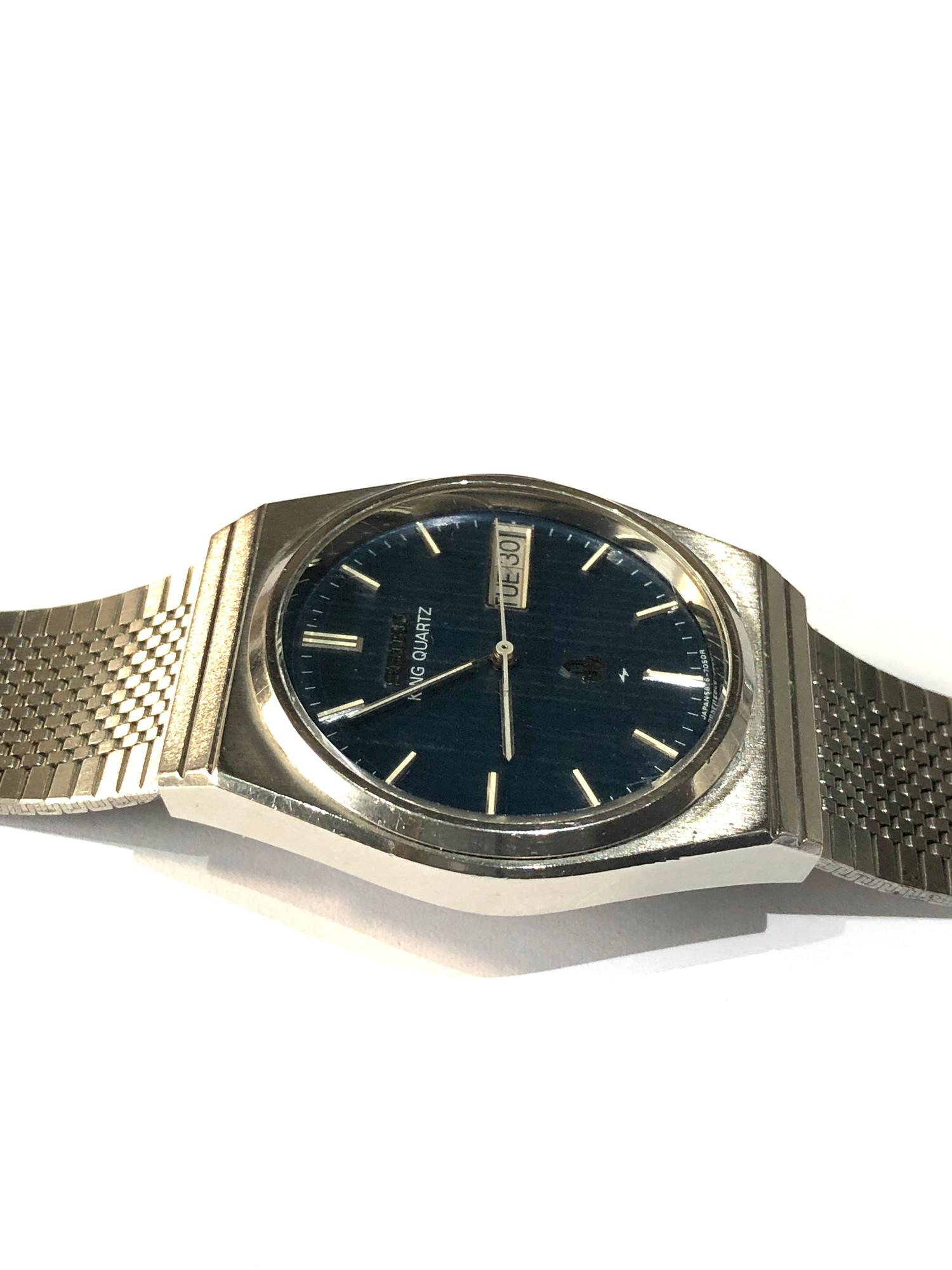 Vintage Seiko king quartz 5856-7040 watch is in working order but no warranty given - Image 3 of 5