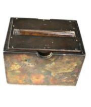 Antique silver cigarette dispenser box Birmingham silver hallmarks measures approx 6.8cm tall 10.4cm