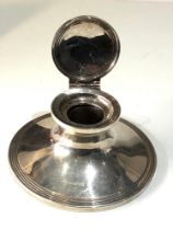 Silver desk inkwell measures approx 12cm dia height6.4cm Chester silver hallmarks