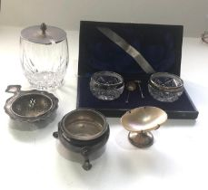 Selection of silver items includes boxed salts tea strainer etc