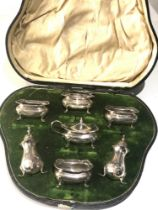 Boxed cruet set missing glass liners silver weight 170g