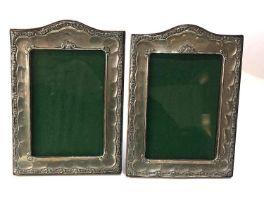 Pair of antique silver picture frames each measures approx 18.5cm by 14cm Birmingham silver