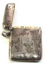 Hallmarked silver vesta case Birmingham silver hallmarks engraved on front