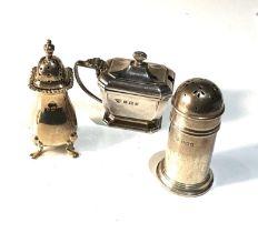 Silver cruet item includes mustard salt and pepper pots