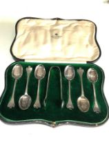 Boxed set of mappin & webb silver tea spoons and sugar tongues
