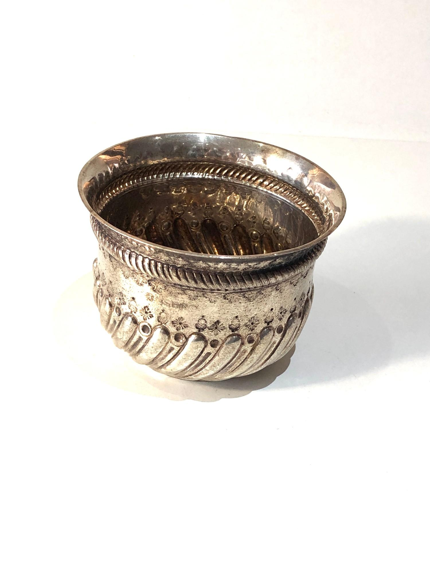 Antique victorian silver bowl with coin insert measures approx 9cm dia height 6.2cm London silver