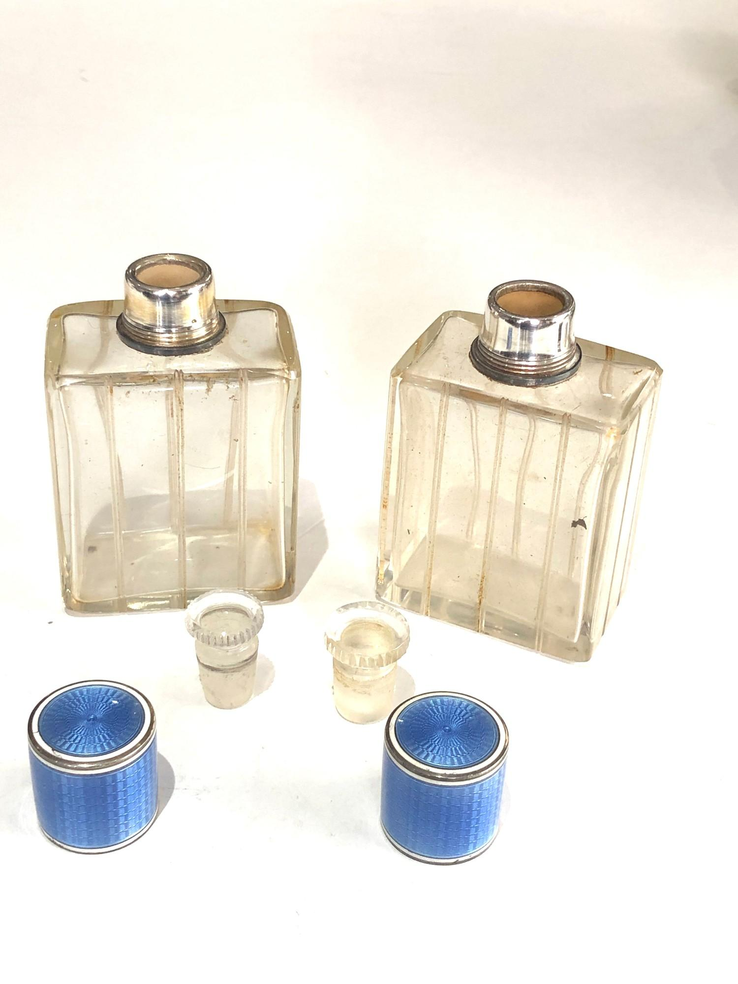 Pair of antique French silver and enamel perfume bottles complete with stoppers in good uncleaned - Image 7 of 8