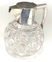 Antique silver and cut glass claret jug London silver hallmarks engraved initials to lid measures