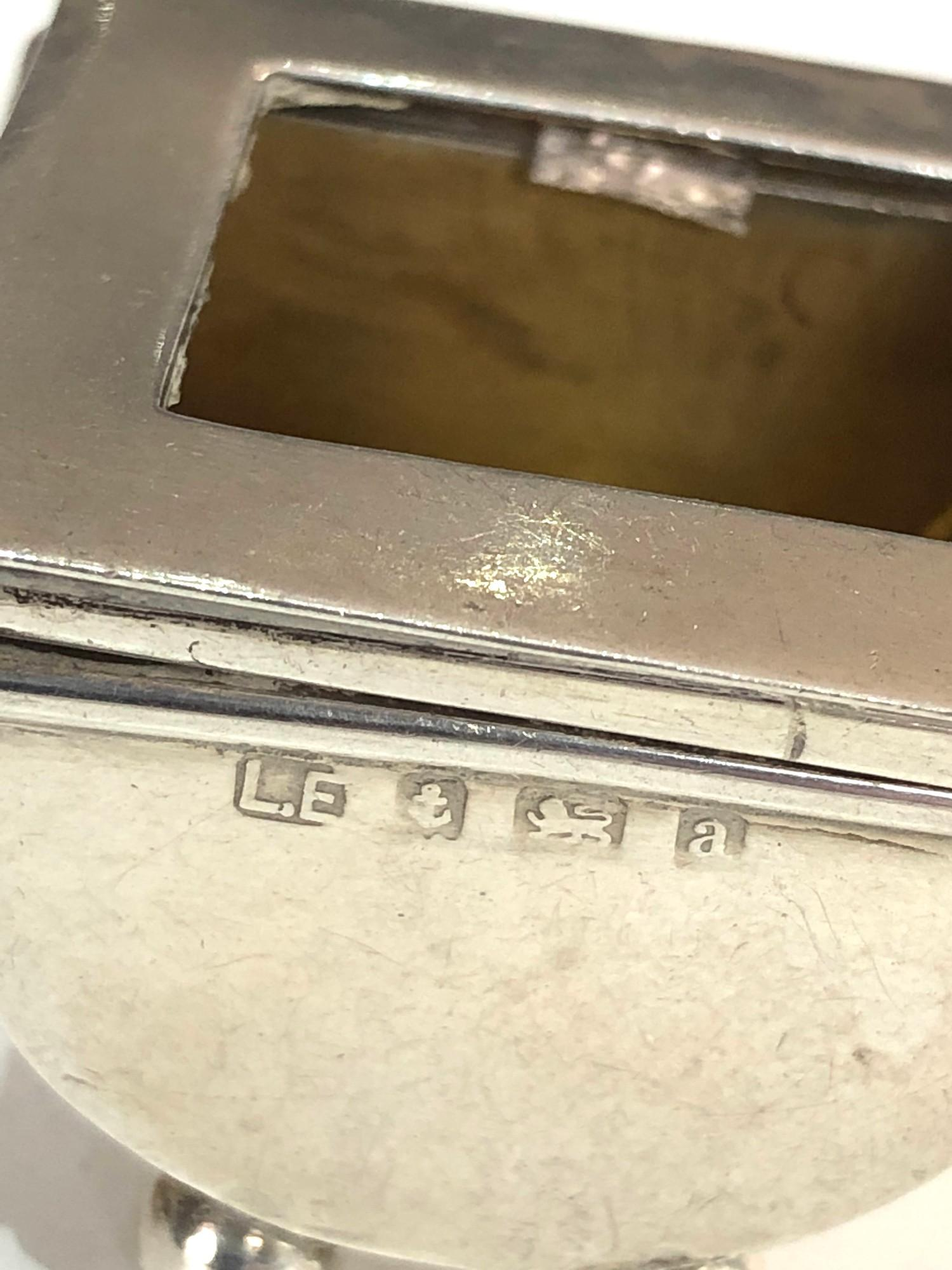 2 antique Silver Stamp Cases hinged lids both with Birmingham silver hallmarks please see images for - Image 4 of 5