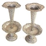 Fine Indian ornate Repousse floral vases each measures approx height 23cm filled bases total