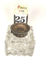 Large Antique silver desk inkwell and calendar glass inkwell measures approx 9.2cm sq the height
