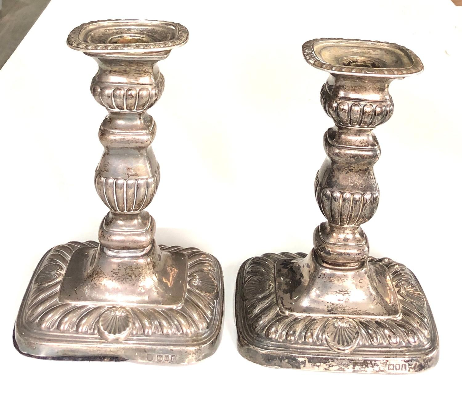 A pair of Edwardian silver rounded rectangular candlesticks, 18cm high London 1906, fitted as - Image 2 of 7