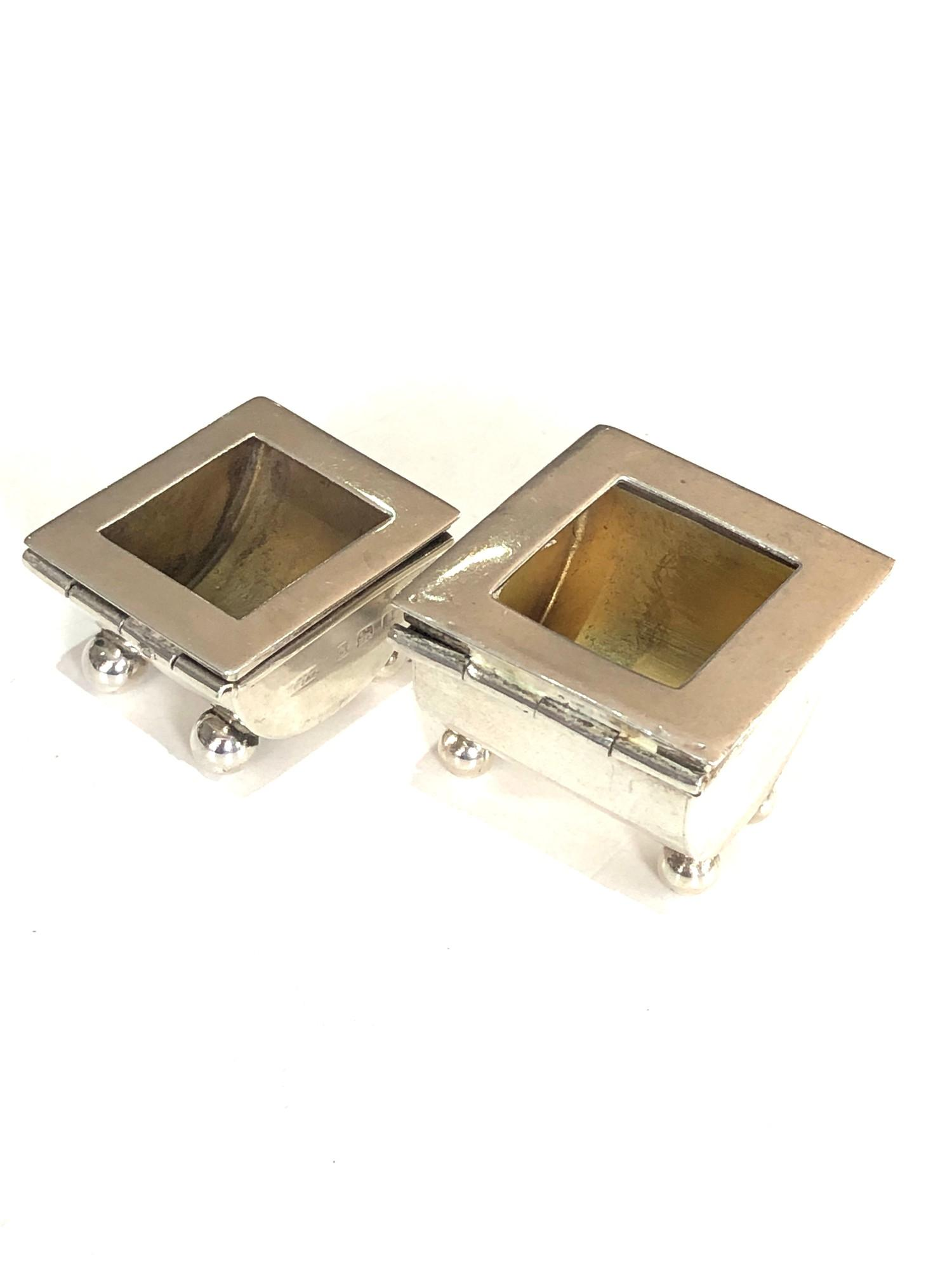 2 antique Silver Stamp Cases hinged lids both with Birmingham silver hallmarks please see images for - Image 3 of 5