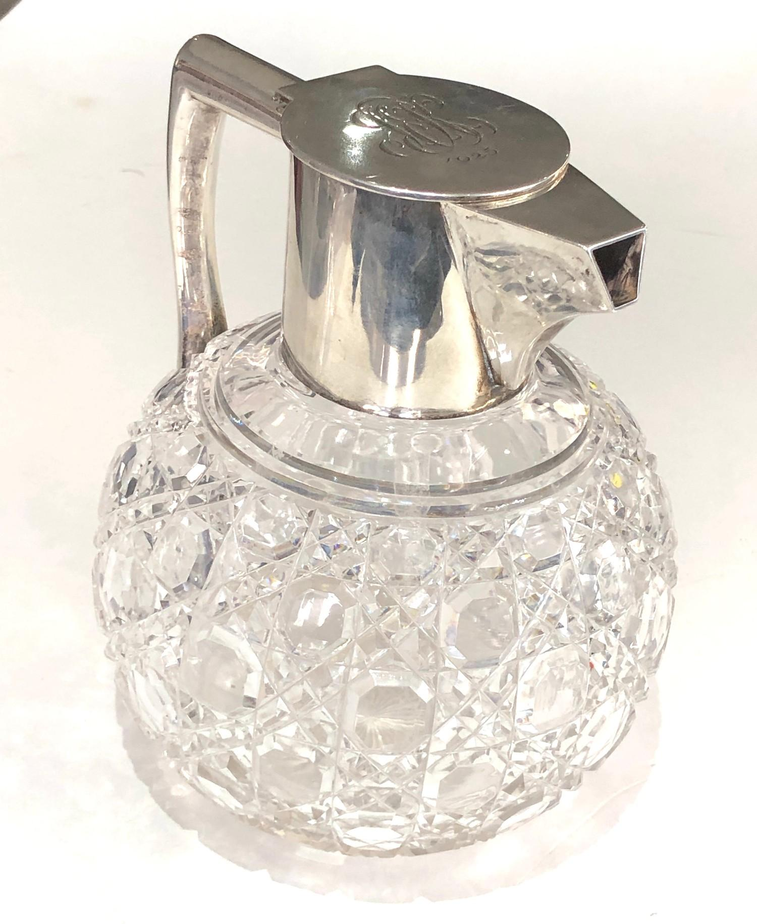 Antique silver and cut glass claret jug London silver hallmarks engraved initials to lid measures - Image 2 of 7