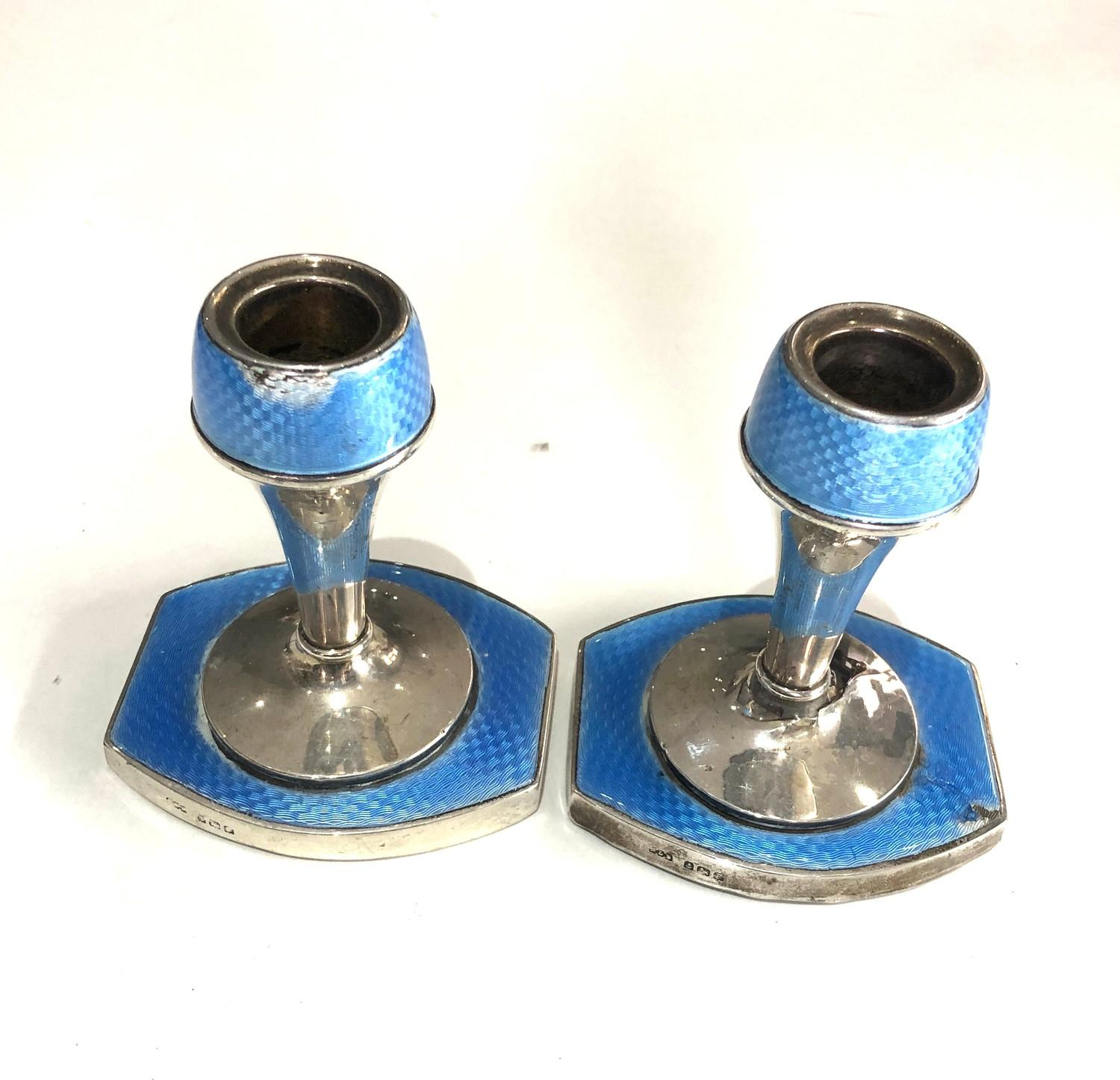 Pair of antique silver and enamel candlesticks measure approx height 9.3cm by 8cm wide filled - Image 2 of 5