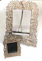 2 solid indian silver picture frames hallmarked 925 largest measures approx 27cm by 18cm weight 300g