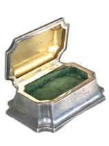 Small antique silver jewellery / trinket box to Lieut g.g.thorne box measures approx 9cm by 6cm