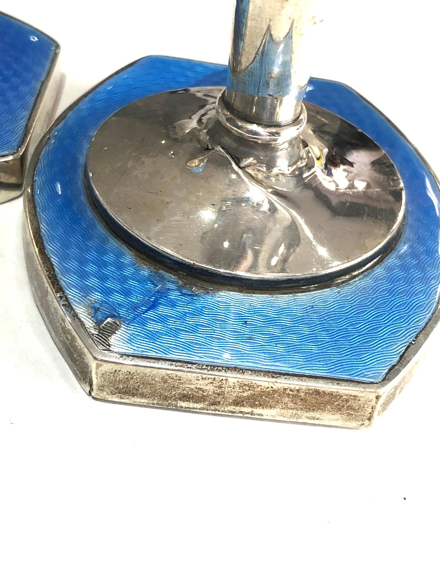 Pair of antique silver and enamel candlesticks measure approx height 9.3cm by 8cm wide filled - Image 4 of 5