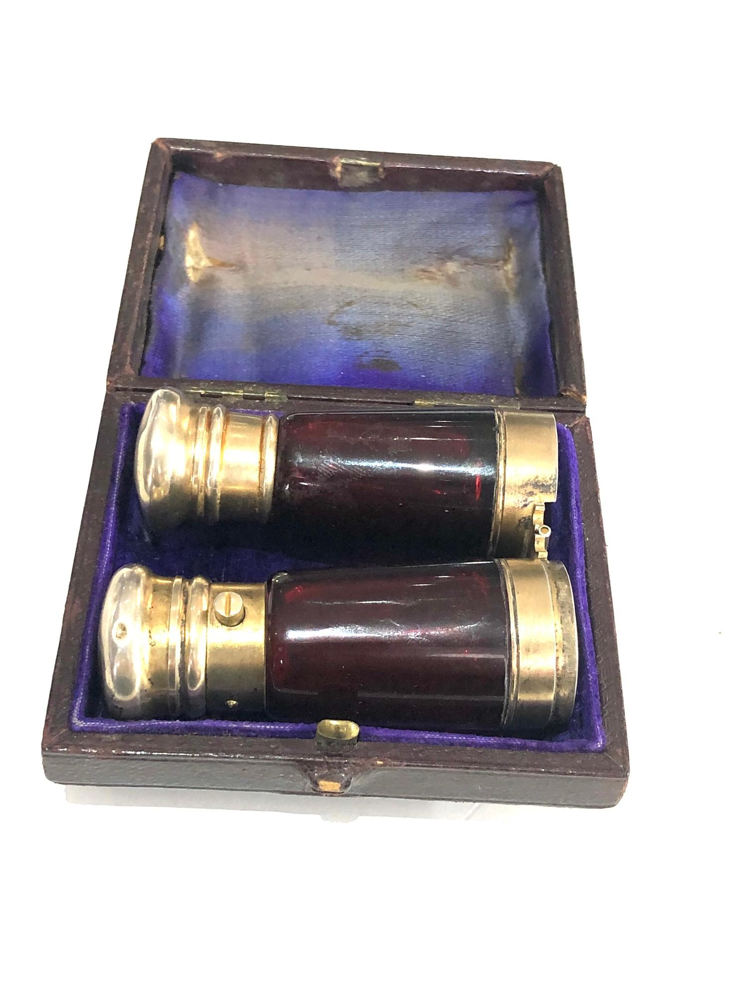 Rare antique ruby glass and silver mounted novelty binoculars scent bottle in original box by Maw - Image 8 of 11
