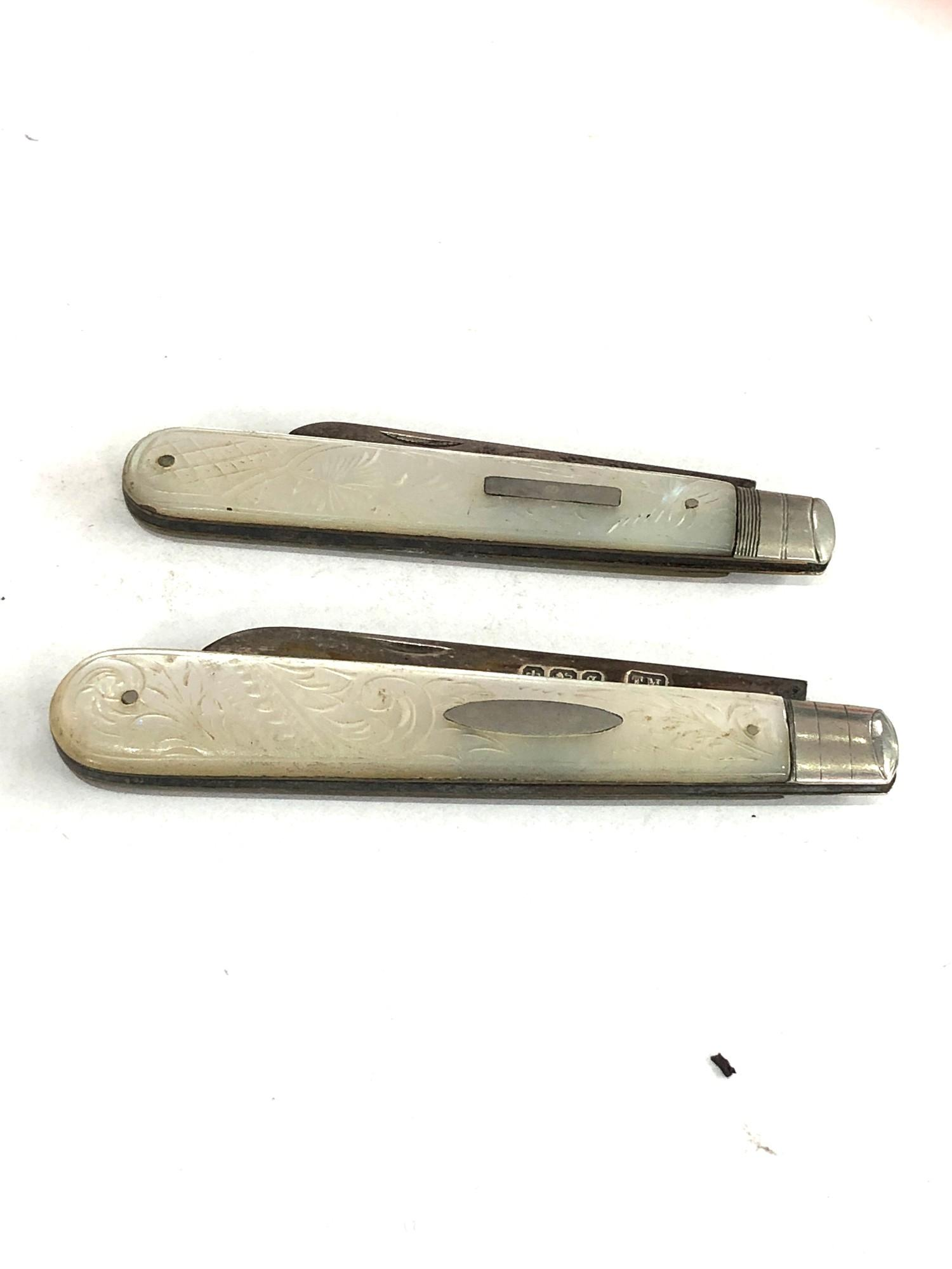 2 antique silver fruit knives