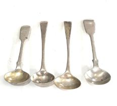 Selection of 4 antique silver mustard spoons weight 40g