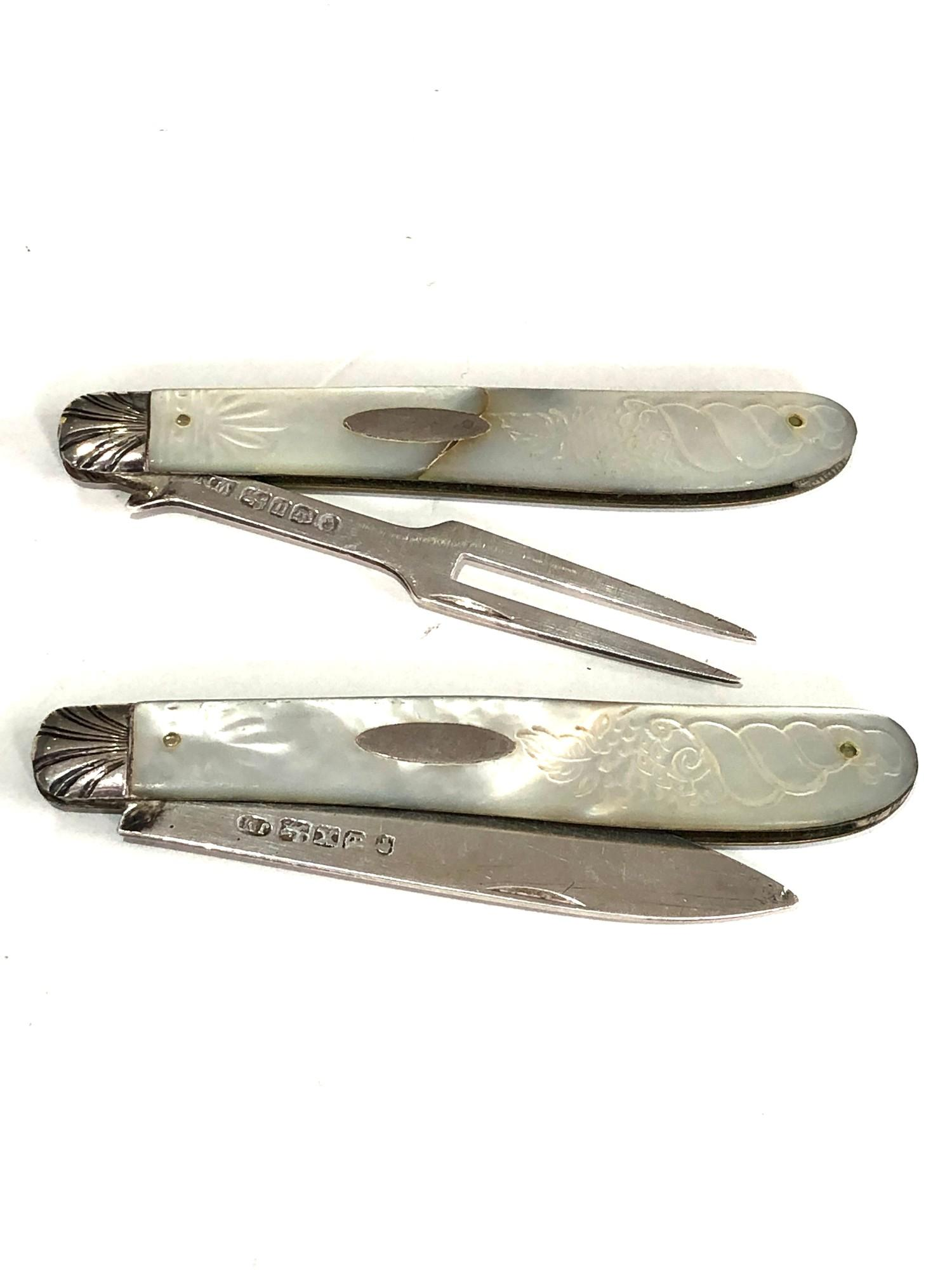Antique silver & mop knife and fork both have victorian silver hallmarks matching mop handles with