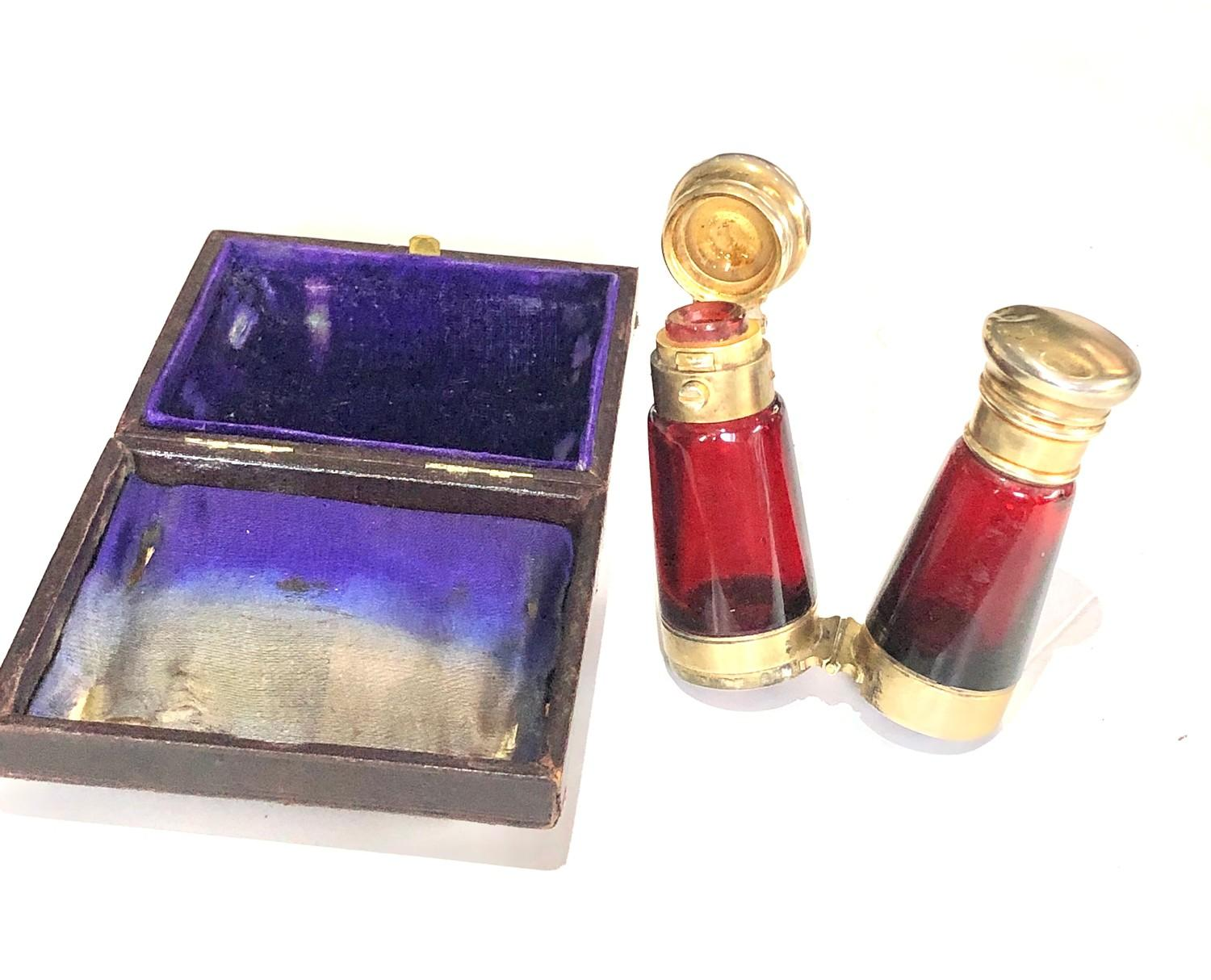 Rare antique ruby glass and silver mounted novelty binoculars scent bottle in original box by Maw