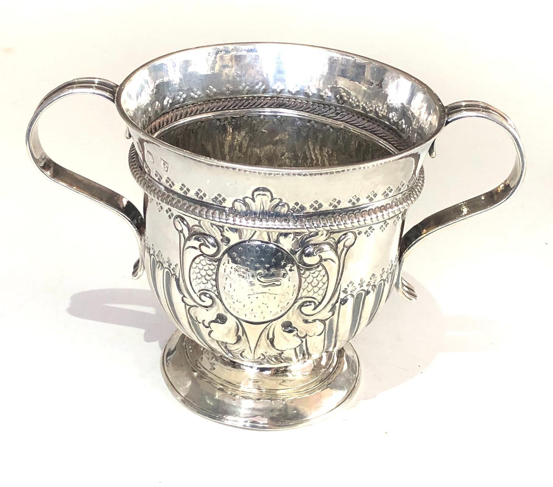 Rare George 1 silver Porringer full london silver hallmarks date letter B for 1717 measures approx