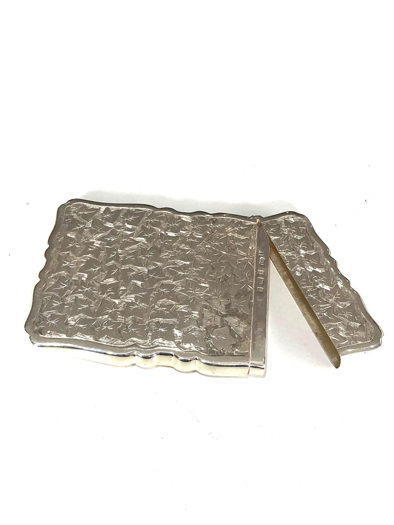 Fine antique silver card case Birmingham silver hallmarks engraved initials on front measure - Image 2 of 5