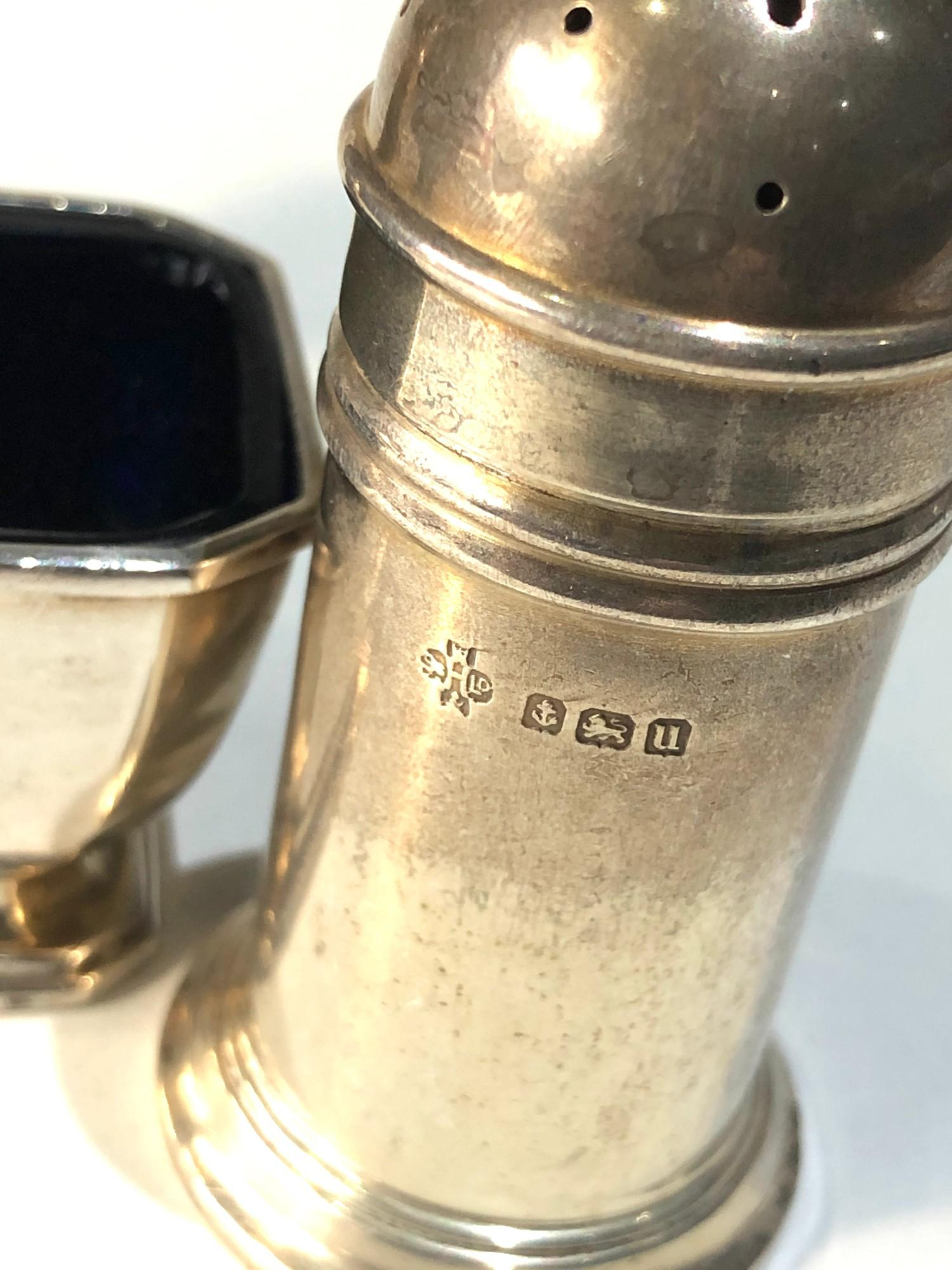 Silver cruet item includes mustard salt and pepper pots - Image 4 of 5