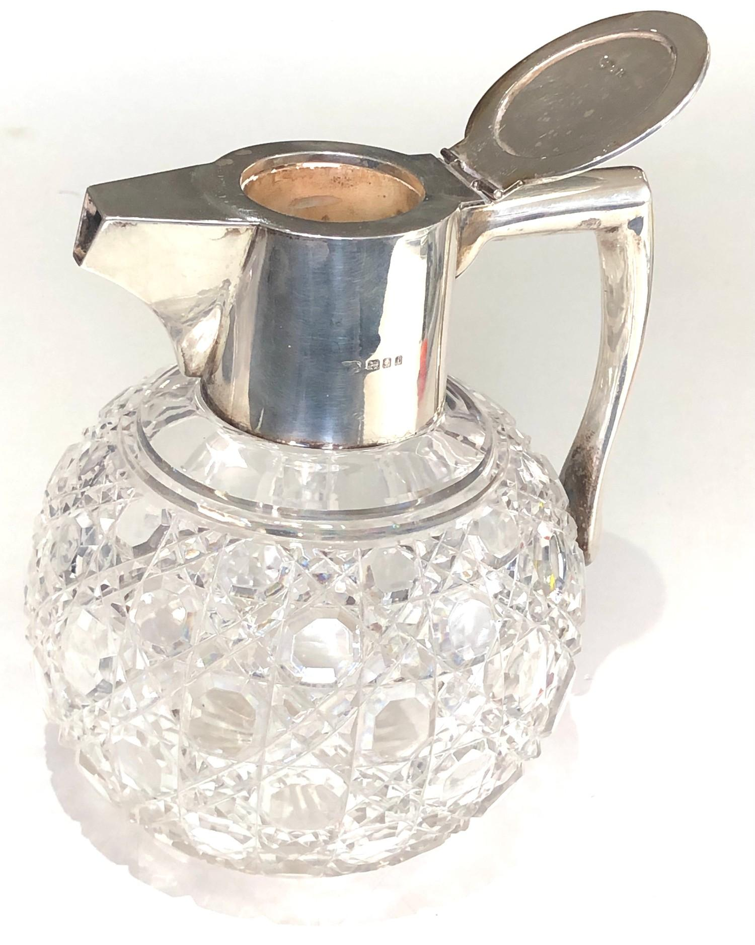 Antique silver and cut glass claret jug London silver hallmarks engraved initials to lid measures - Image 4 of 7