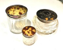 Antique silver and tortoiseshell trinket jars in good overall condition largest measures approx