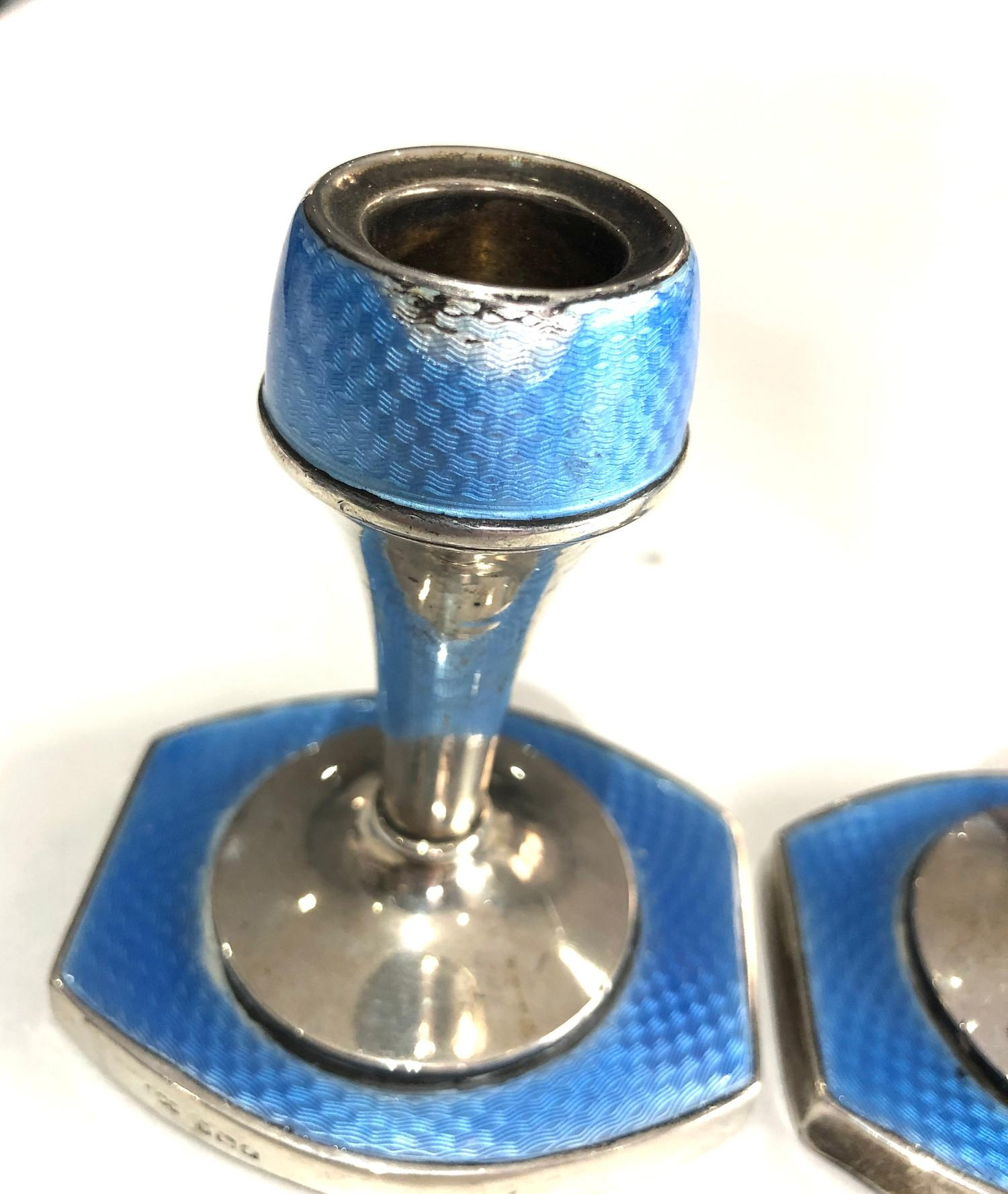 Pair of antique silver and enamel candlesticks measure approx height 9.3cm by 8cm wide filled - Image 3 of 5