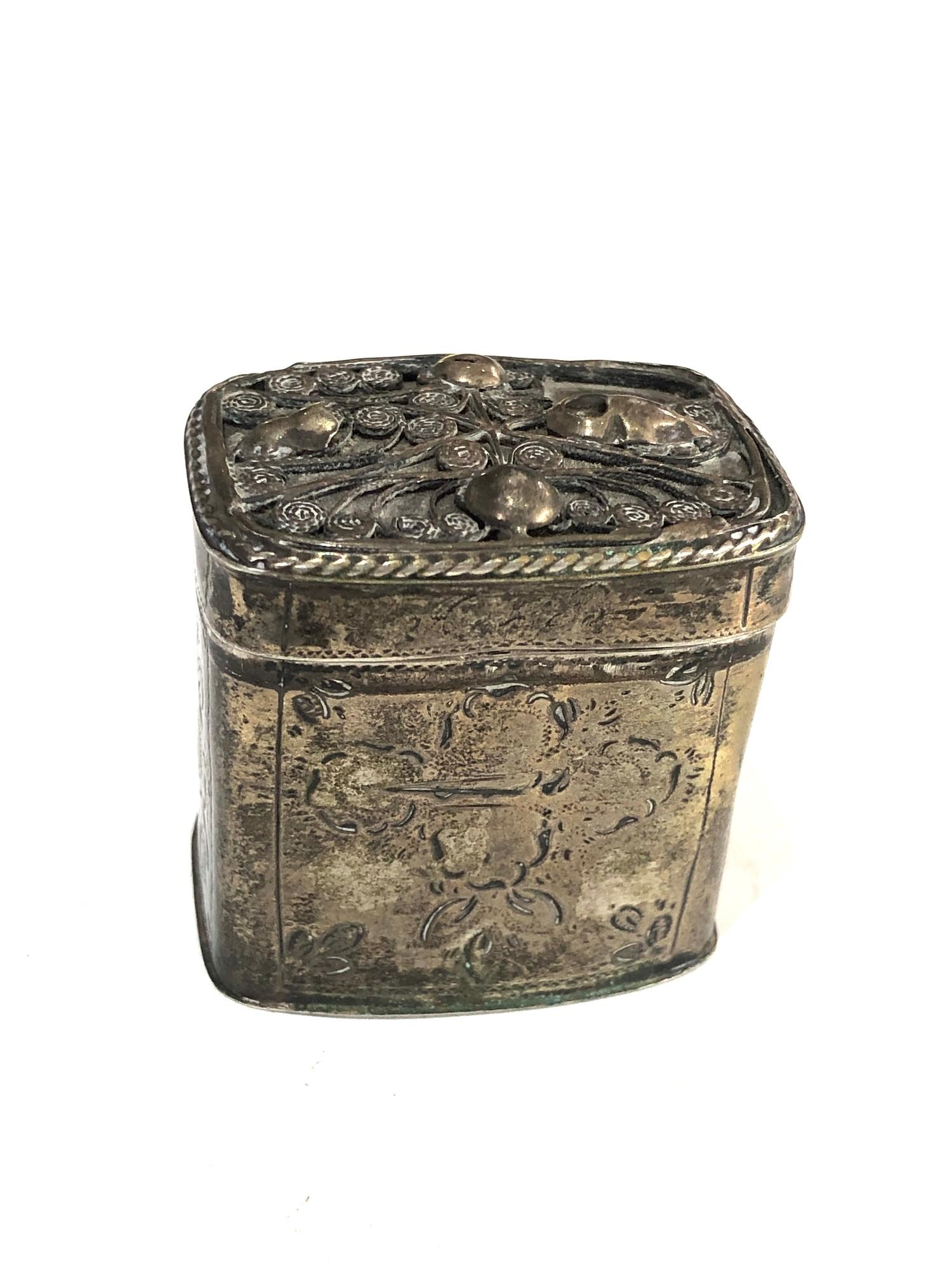 Antique Dutch silver peppermint box measures approx 4cm high and 4cm by 3cm age related wear dent