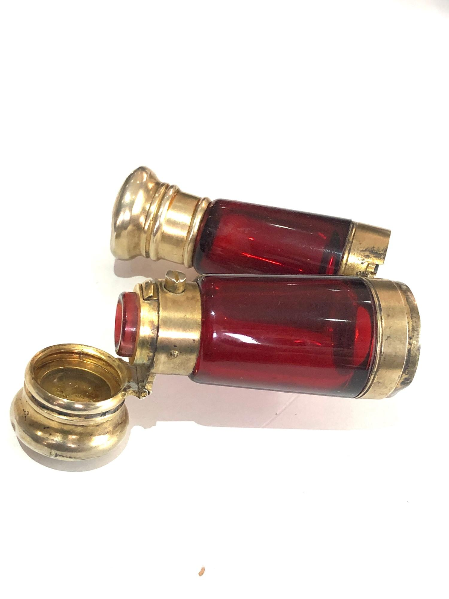 Rare antique ruby glass and silver mounted novelty binoculars scent bottle in original box by Maw - Image 3 of 11