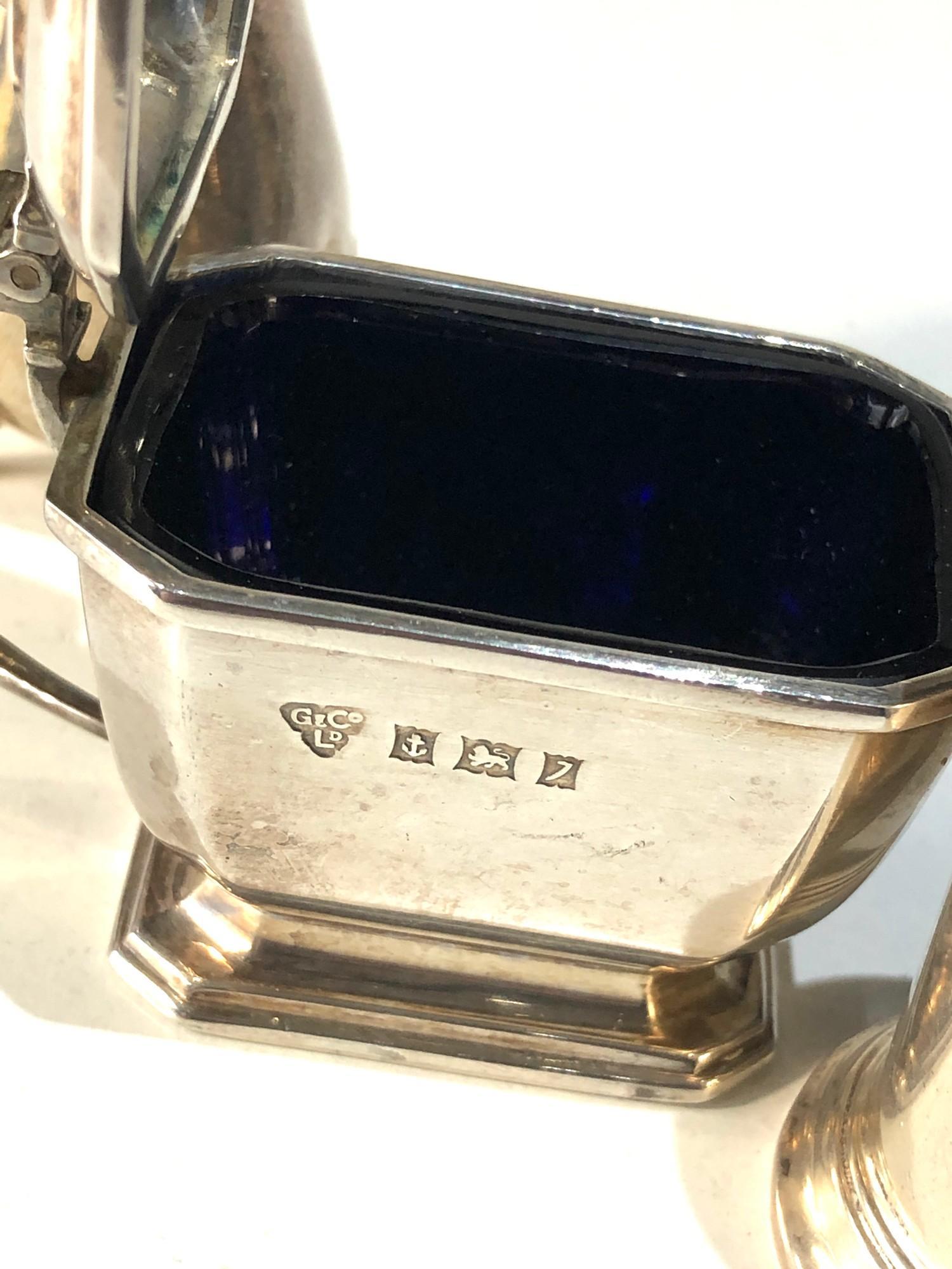 Silver cruet item includes mustard salt and pepper pots - Image 3 of 5