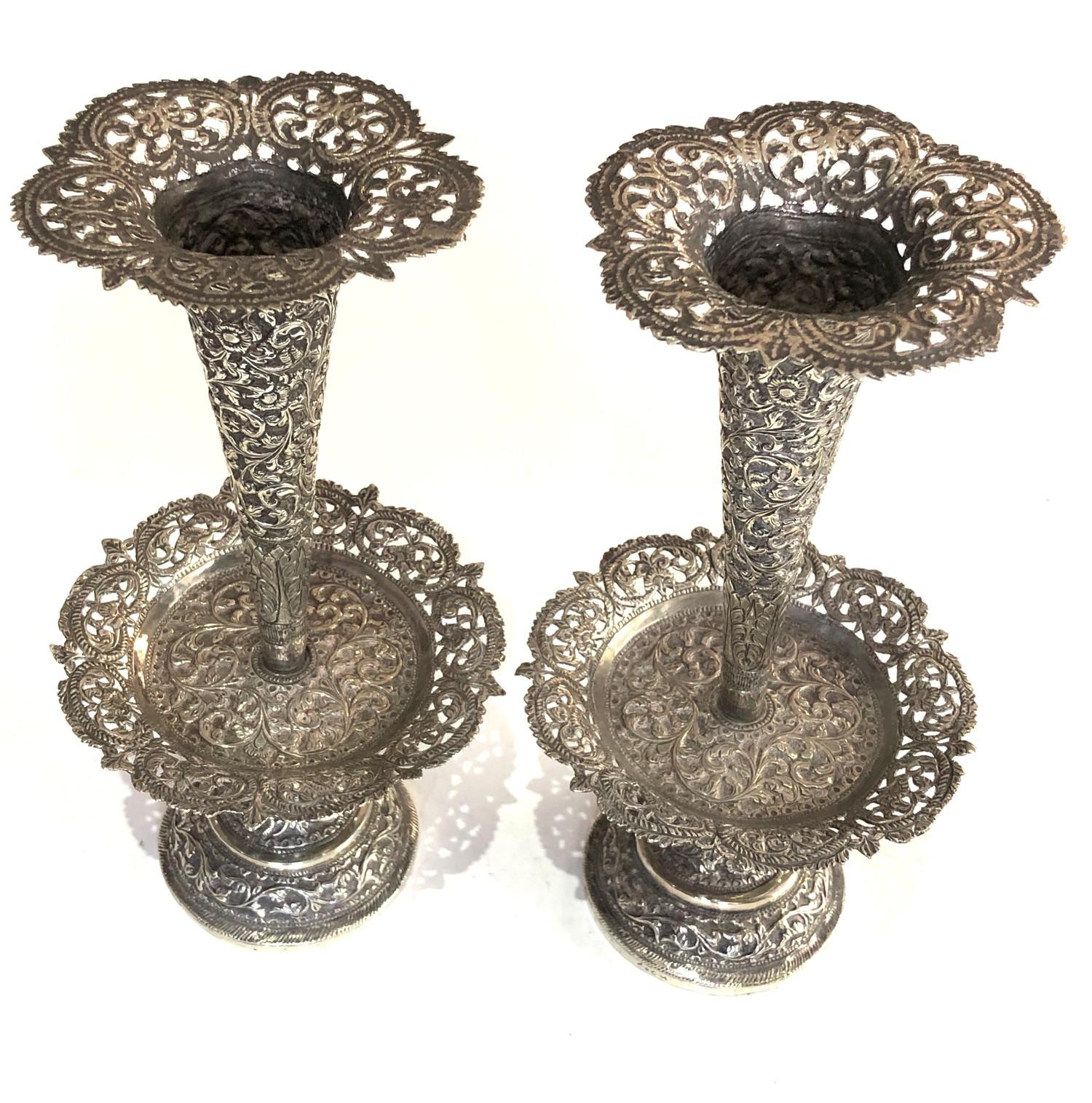 Fine Indian ornate Repousse floral vases each measures approx height 23cm filled bases total - Image 2 of 6