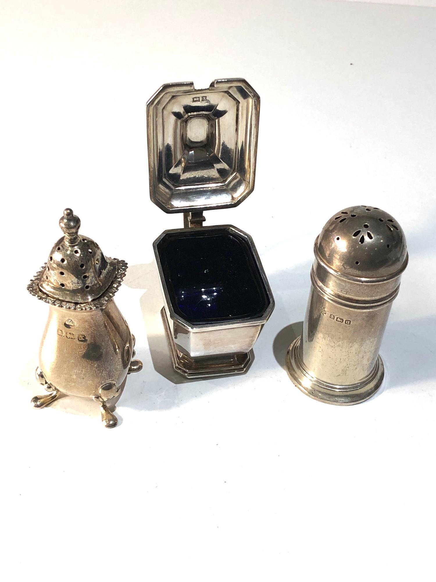 Silver cruet item includes mustard salt and pepper pots - Image 2 of 5