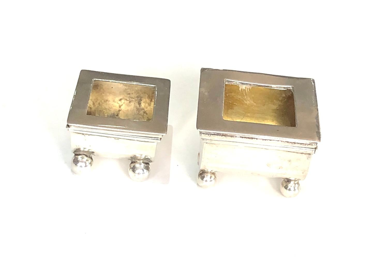 2 antique Silver Stamp Cases hinged lids both with Birmingham silver hallmarks please see images for - Image 2 of 5