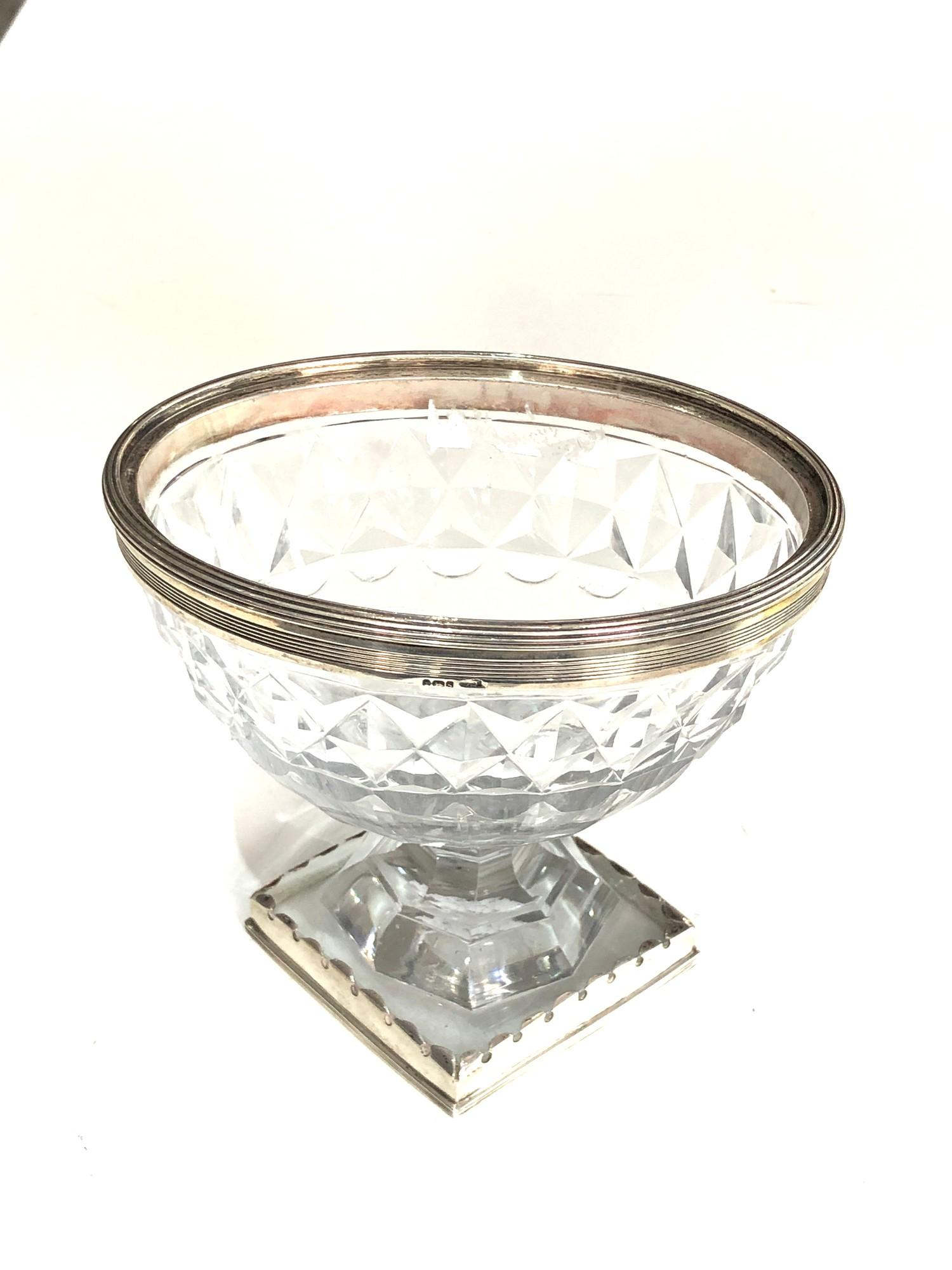 Antique georgian silver mounted cut glass sweetmeat vase later silver mount to base measures