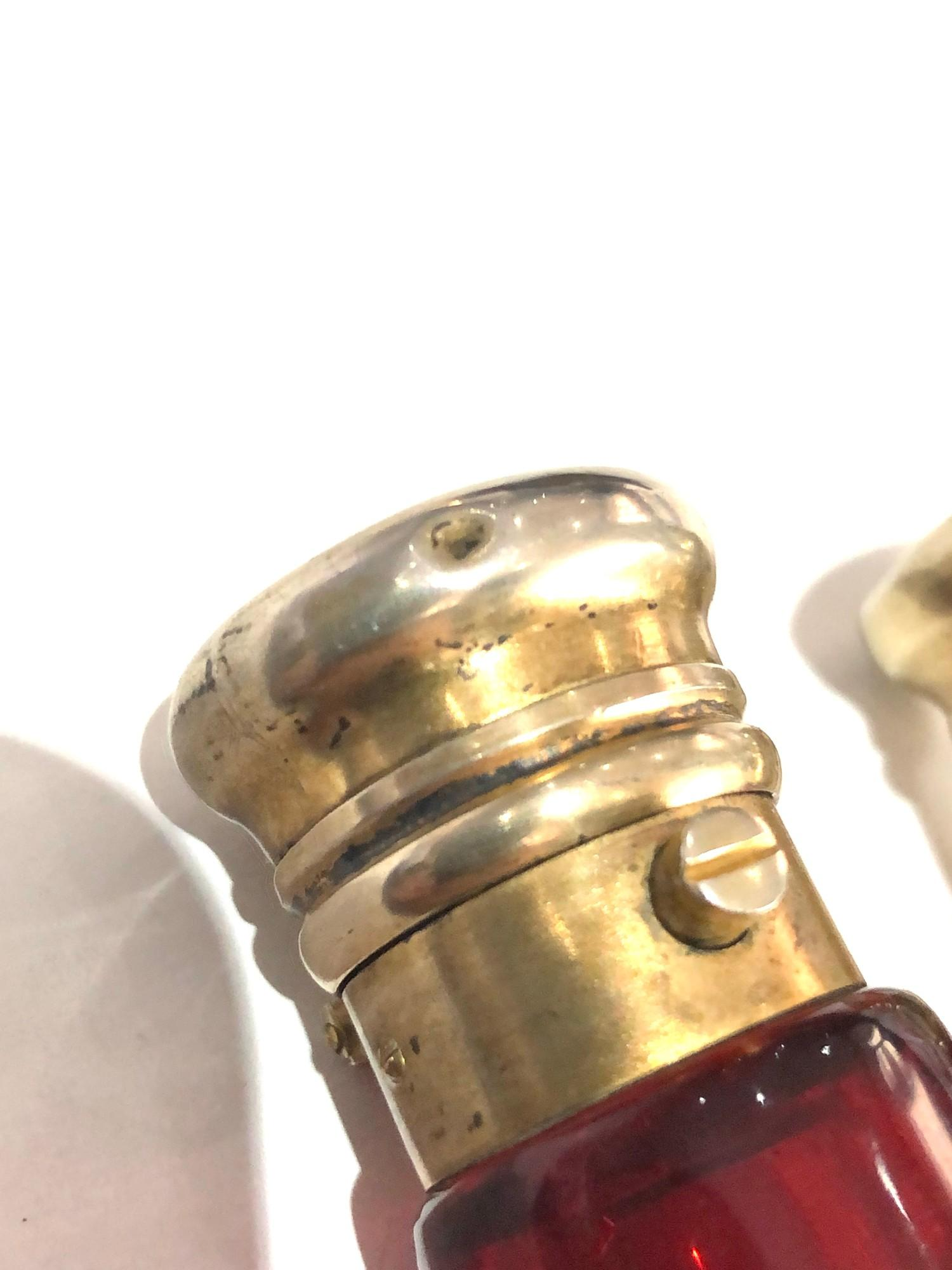 Rare antique ruby glass and silver mounted novelty binoculars scent bottle in original box by Maw - Image 10 of 11