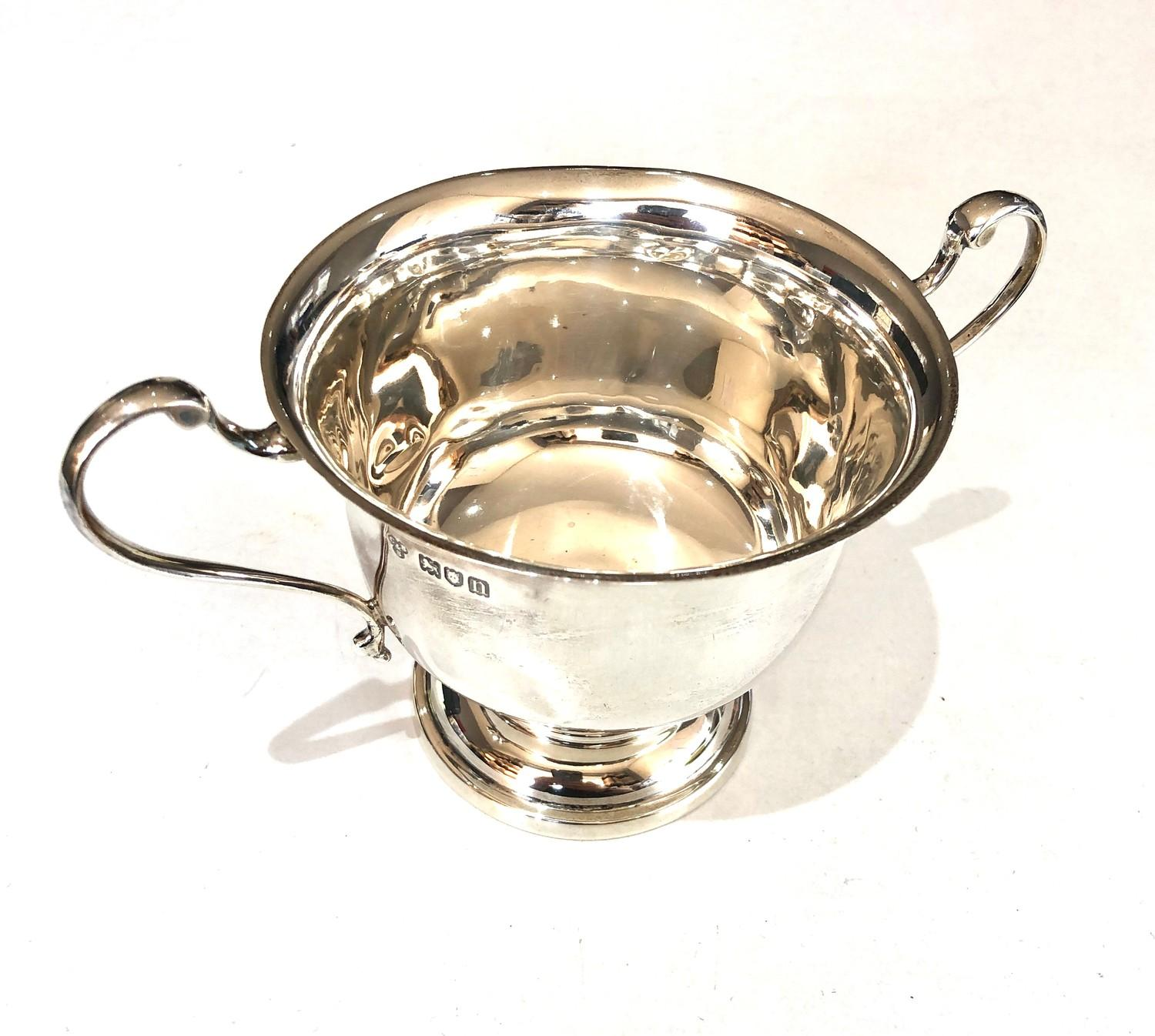 Antique silver 2 handled bowl measures approx 17cm from handles dia 10.5cm height 9cm London - Image 2 of 3