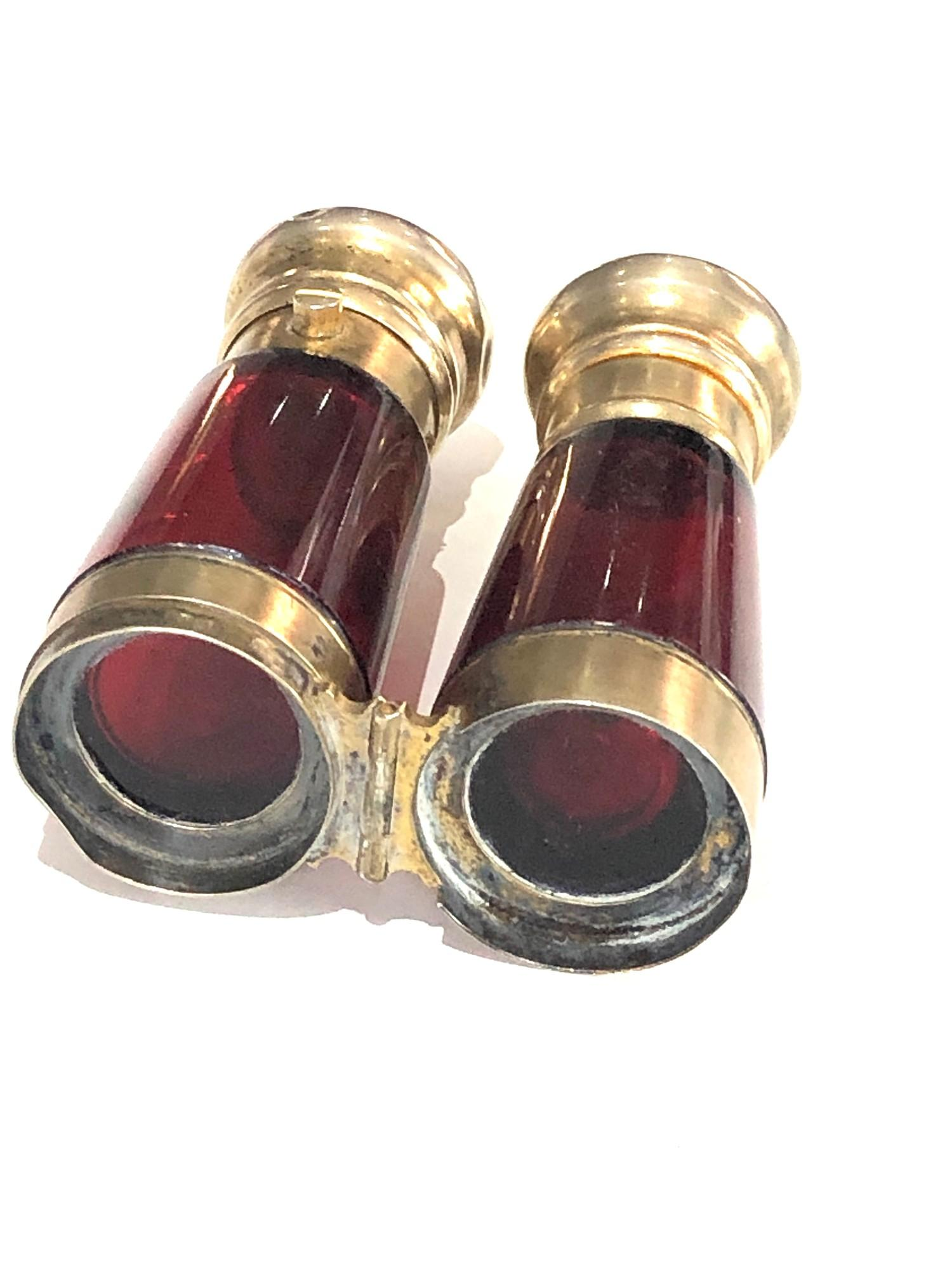 Rare antique ruby glass and silver mounted novelty binoculars scent bottle in original box by Maw - Image 6 of 11