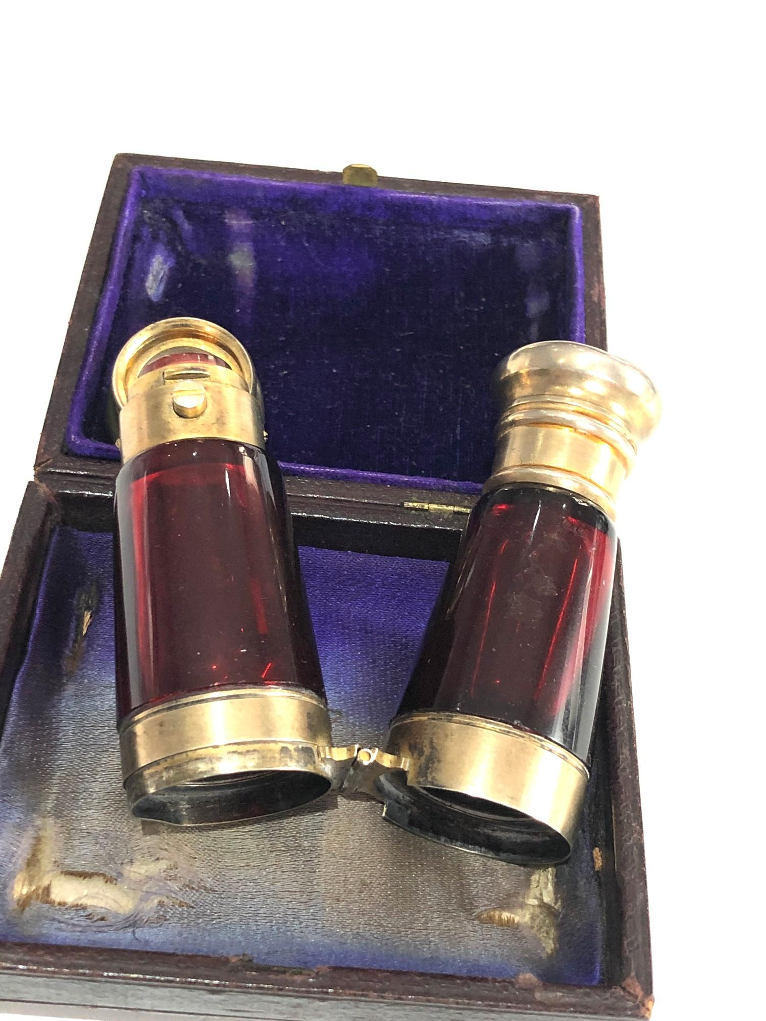 Rare antique ruby glass and silver mounted novelty binoculars scent bottle in original box by Maw - Image 2 of 11