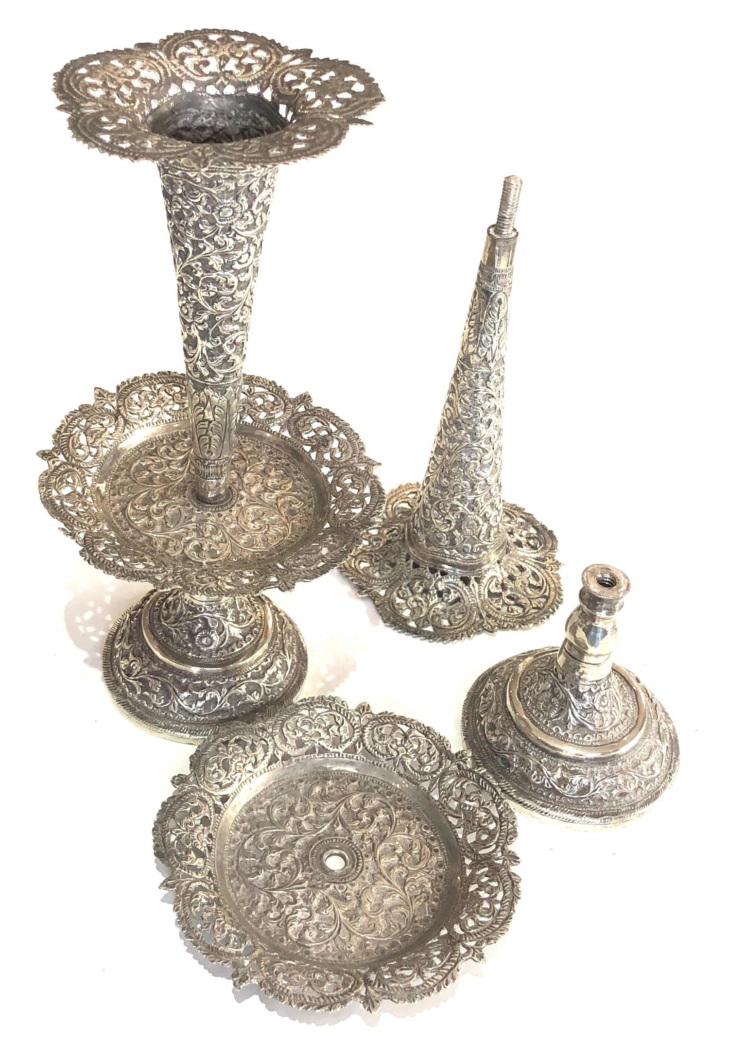 Fine Indian ornate Repousse floral vases each measures approx height 23cm filled bases total - Image 5 of 6