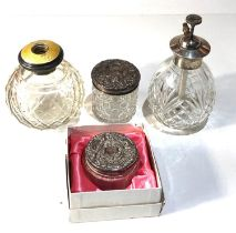 Silver vanity items includes perfume and silver top jars enamel wear and missing top as shown please