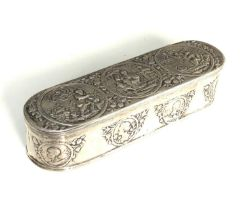 Antique Dutch silver tobacco box the hinged cover chased with scenes measures approx 16cm by 5cm 3.