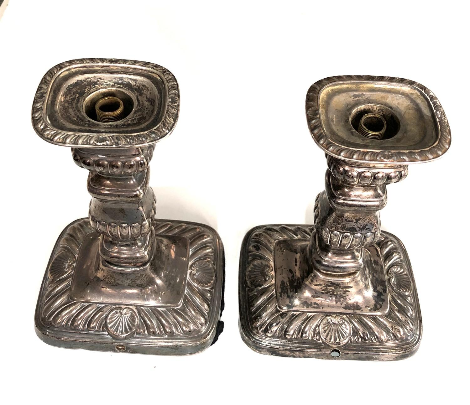 A pair of Edwardian silver rounded rectangular candlesticks, 18cm high London 1906, fitted as - Image 5 of 7